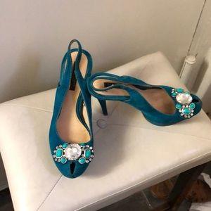 Zara Woman platform slingback turquoise pumps 39